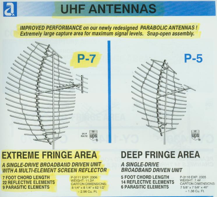 Antennacraft P-7 and P-5 UHF TV parabolic antennas.