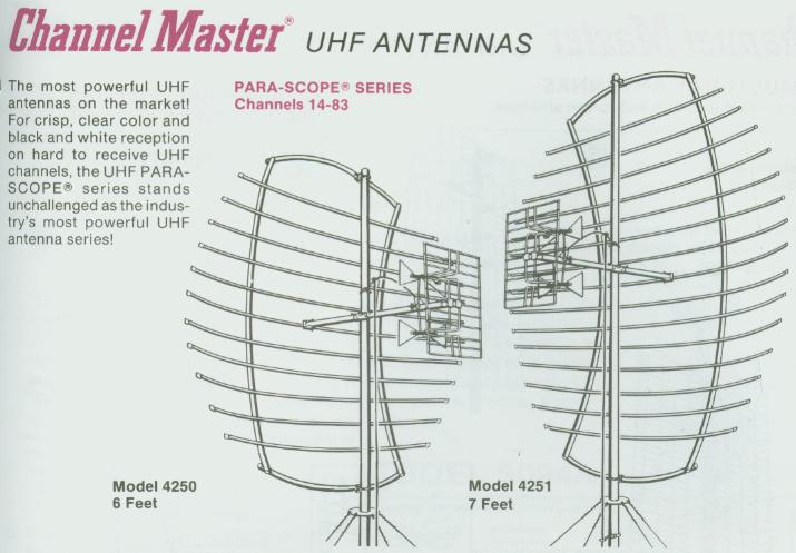 Channel Master Para-Scope 4250 and 4251 UHF TV parabolic antennas.